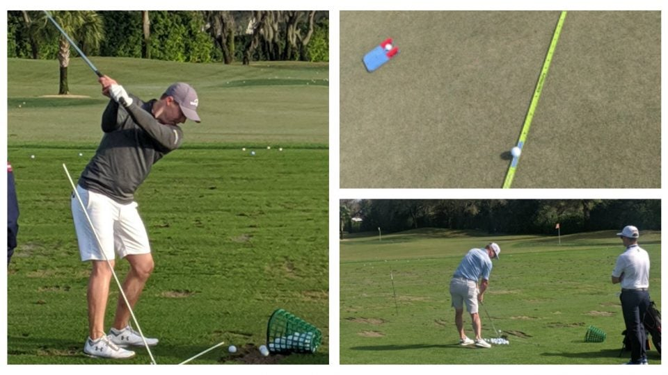 pro golfers on the range at the 2020 arnold palmer invitational