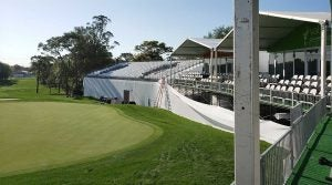 An empty 18th grandstands at the Valspar Championship.