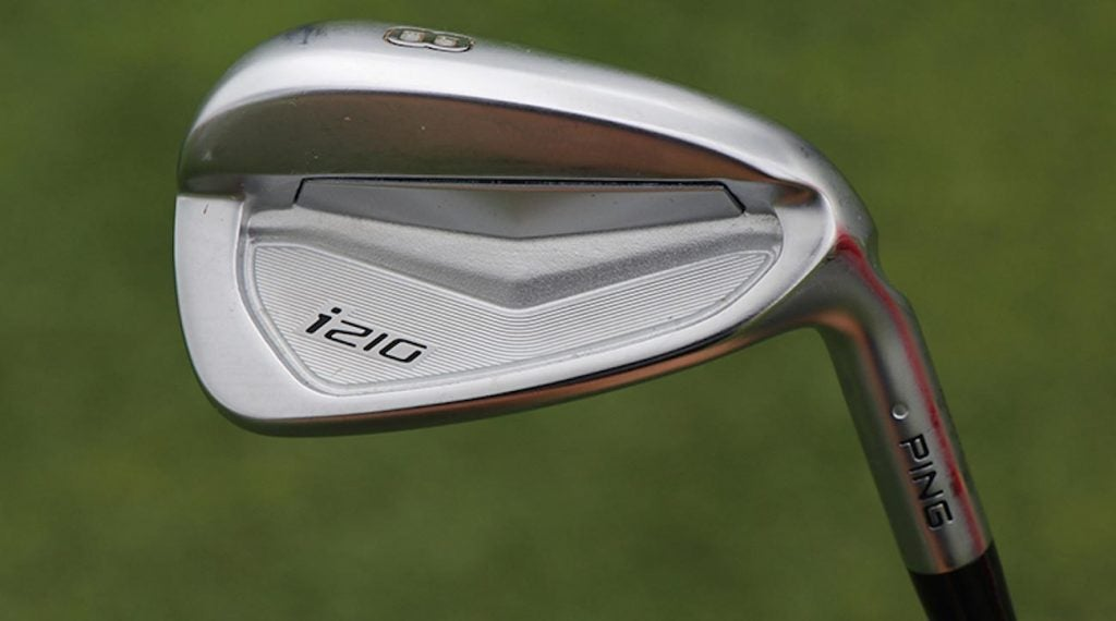 One of Viktor Hovland's Ping irons.