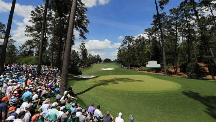 A view of the 10th green looking back at the fairway at Augusta National.