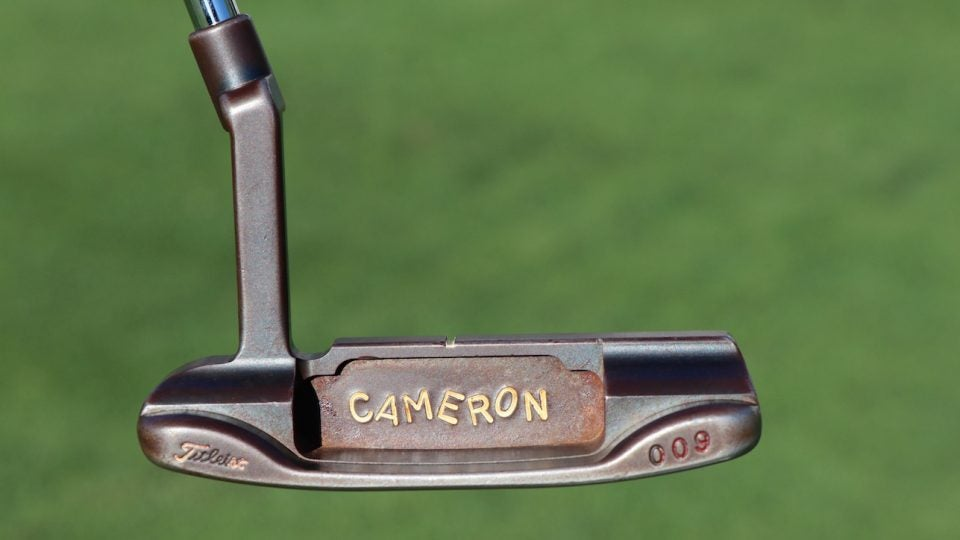 Jordan Spieth's Scotty Cameron Circle T 009 putter that he's used throughout his career.