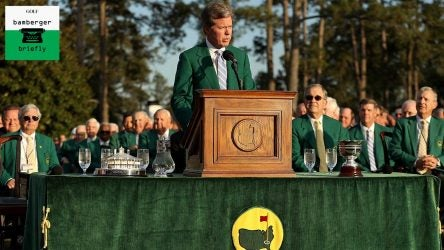 Fred Ridley speaks at the 2018 Masters.