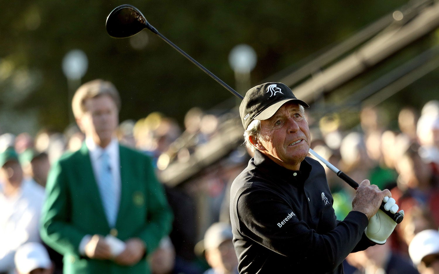 Gary Player hits a ceremonial tee shot down the first fairway at Augusta National.