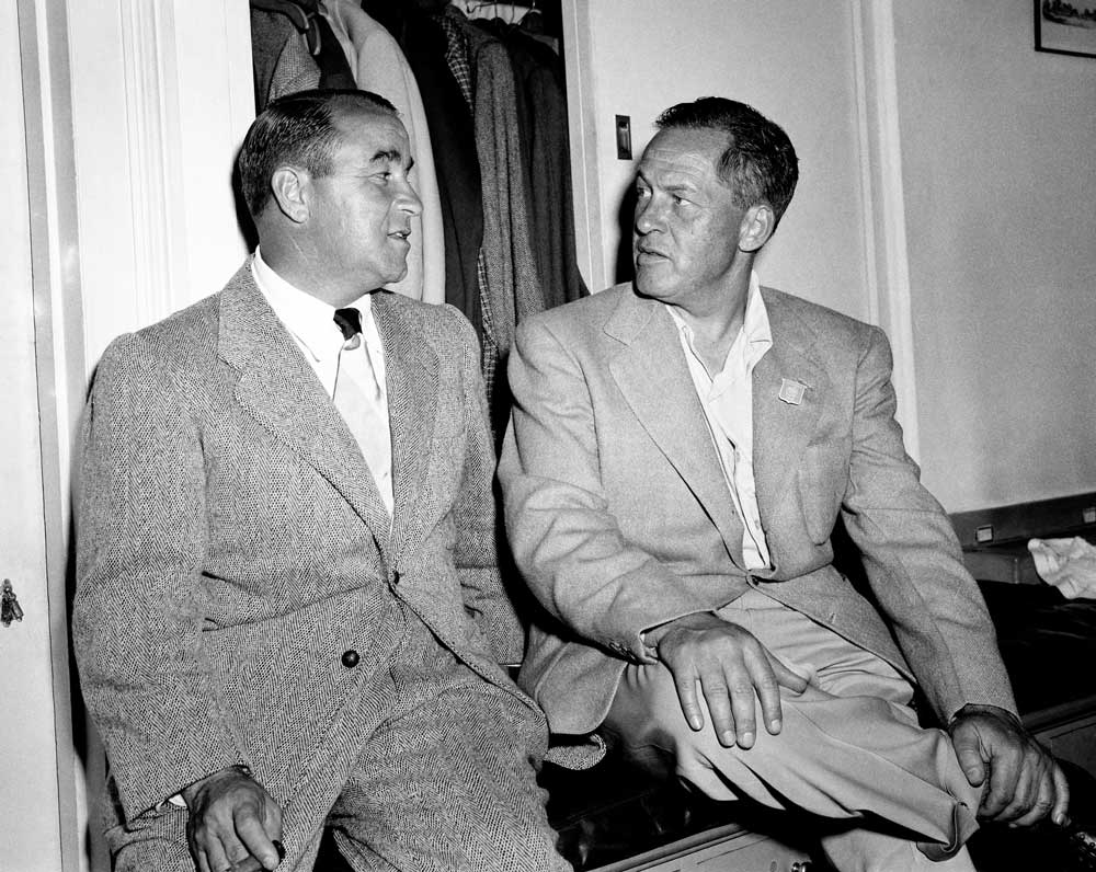 Legends Gene Sarazen and Bobby Jones in the locker room at a Masters in the 1940s.