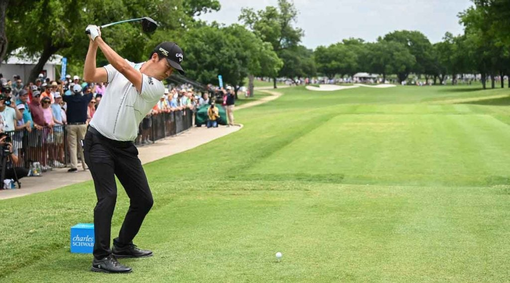 Kevin Na tees off on the first hole during last year's tournament.