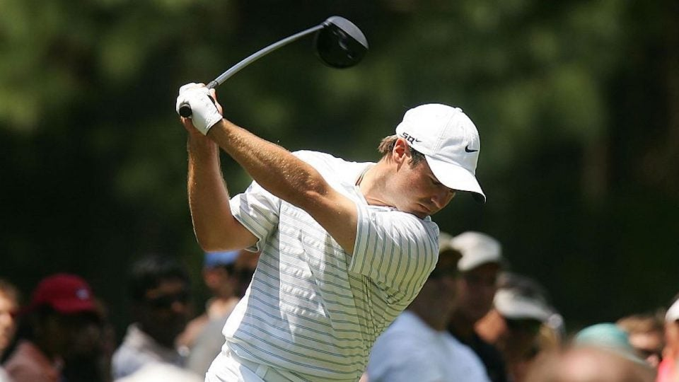 CHARLOTTE, NC - MAY 6: Trevor Immelman of South Africa hits his tee shot on the fourth hole during the third round of the Wachovia Championship at Quail Hollow Club May 6, 2006 in Charlotte, North Carolina. (Photo by Scott Halleran/Getty Images)