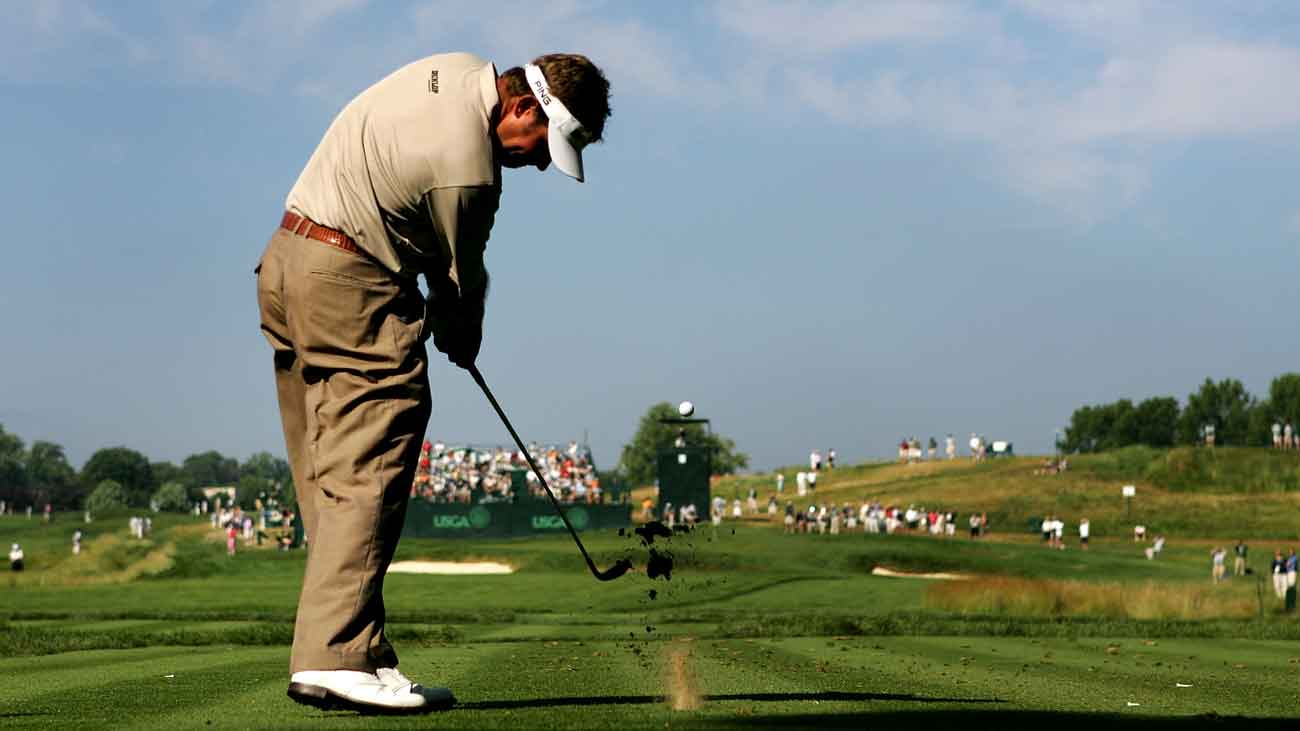 Lee Westwood hits his tee shot on the 183-yard, par-3 13th hole during the 2007 U.S. Open.