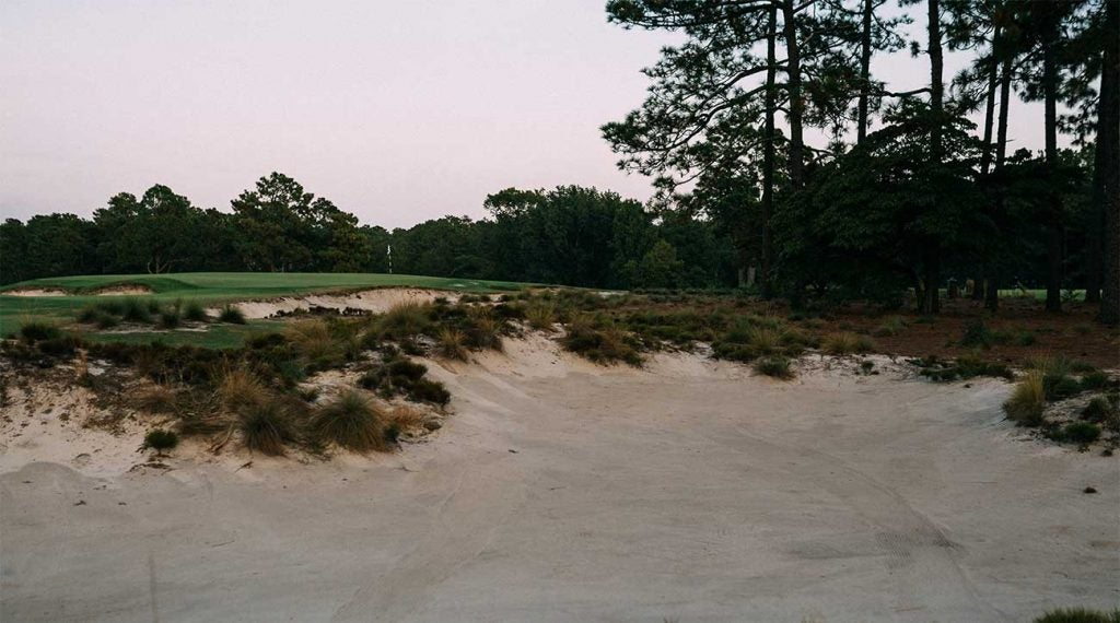 A sandy view of one of the holes at Pinehurst No. 2.