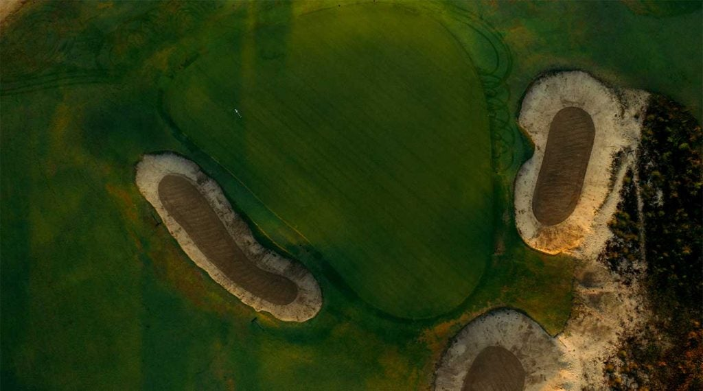 An overhead view of one of the greens at Pinehurst No. 2.