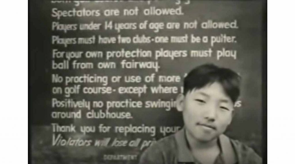 Among the ad's most powerful imagery is a kid sitting in front of golf's