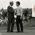 Jack Nicklaus and Tony Jacklin shake hands at the 1969 Ryder Cup.