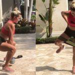 Lexi Thompson performs exercises.