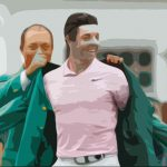 Tiger Woods puts the green jacket on Rory McIlroy at the conclusion of The Masters That Never Was.