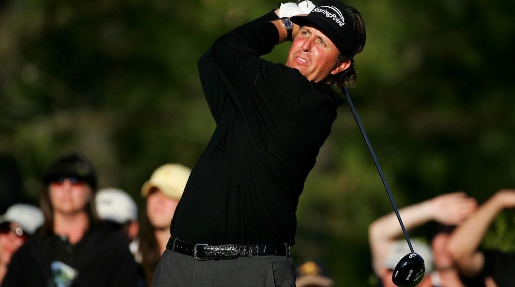 Phil Mickelson with one of his two Callaway Big Bertha Fusion FT-3 drivers during the final round of the 2006 Masters.