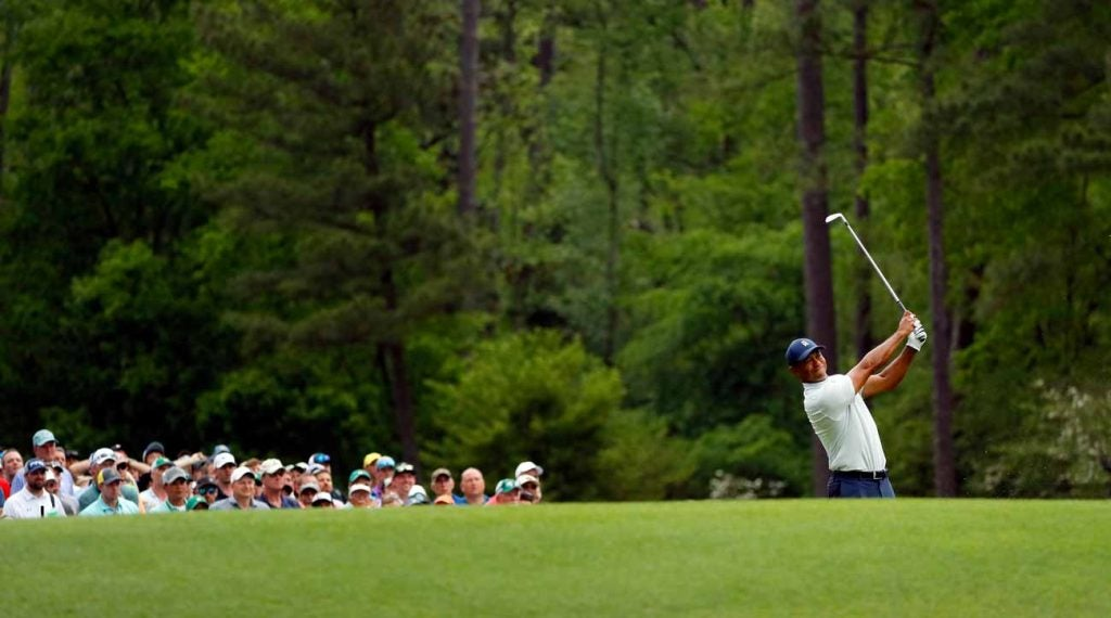 Tiger Woods tees off on No. 12 on Friday at the 2019 Masters.