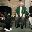 Tiger Woods, Joe Ford and Jim Nantz in Butler Cabin.