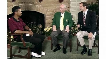 Tiger Woods, Joe Ford and Jim Nantz in Butler Cabin.