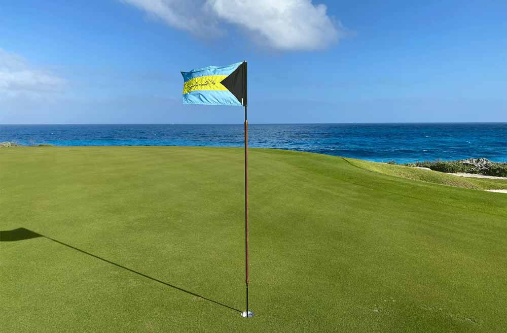 The Abaco Club replaced its golf flags with Bahamas flags that don #abacostrong to display the unity in Great Abaco.