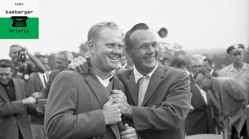 Arnold Palmer and Jack Nicklaus smile