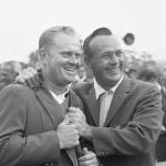 Arnold Palmer and Jack Nicklaus smile