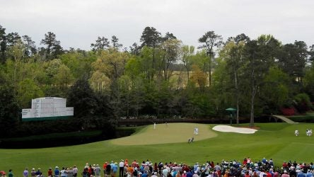 A shot of the 11th green at Augusta National.
