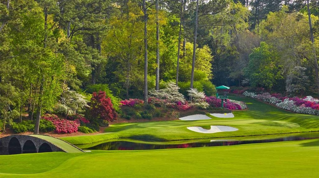 A view of the 12th green at Augusta National from the tee box.