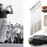 Ben Hogan swining a golf club; Ben Hogan's golf clubs