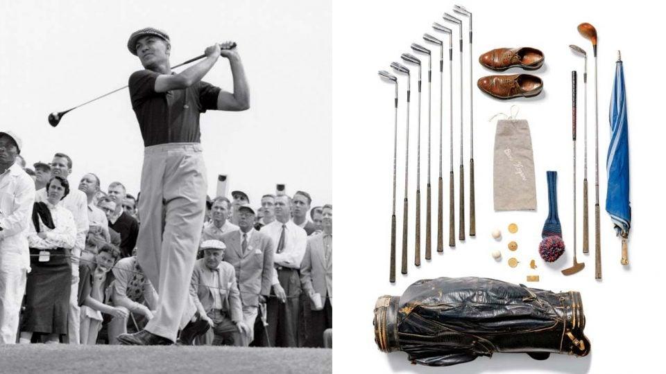 Ben Hogan swining a golf club; Ben Hogan's golf clubs