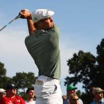 Bryson DeChambeau drives ball