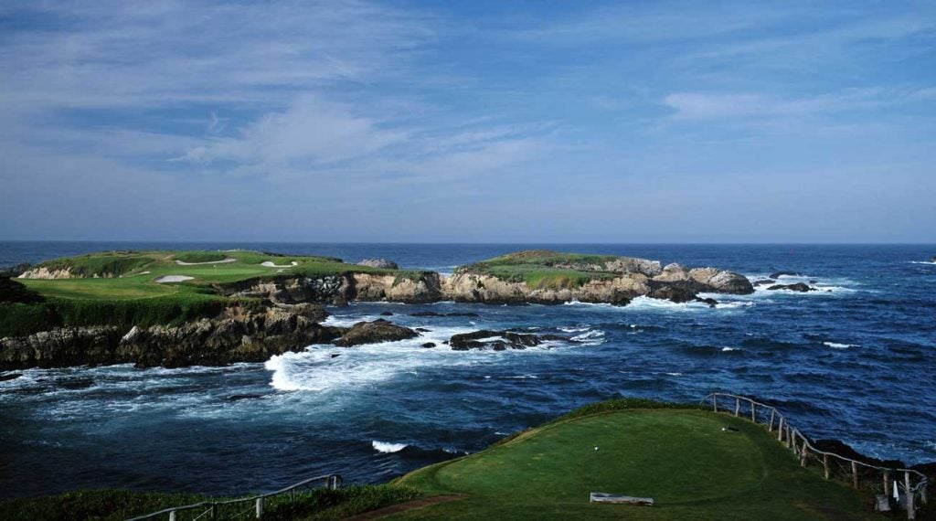 The iconic par-3 16th hole at Cypress Point.