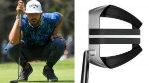 golfer crouches for putt