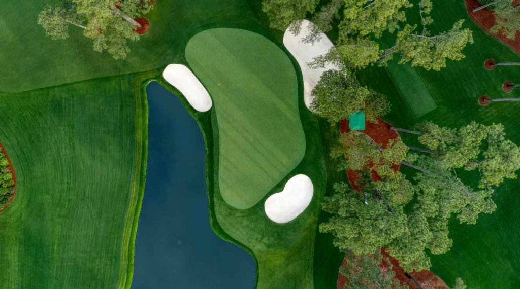 An overhead of the par-3 16th, where if you listen carefully, you can still hear the roars after Woods' chip-in 2005.