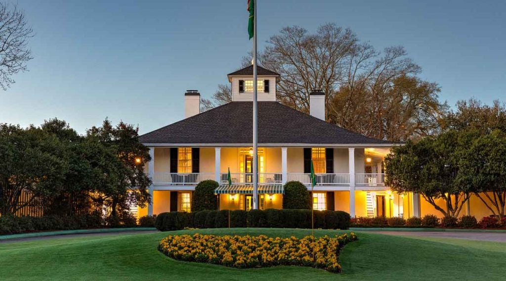 The clubhouse is bright. As is the flower arrangement in the shape of the Masters logo.
