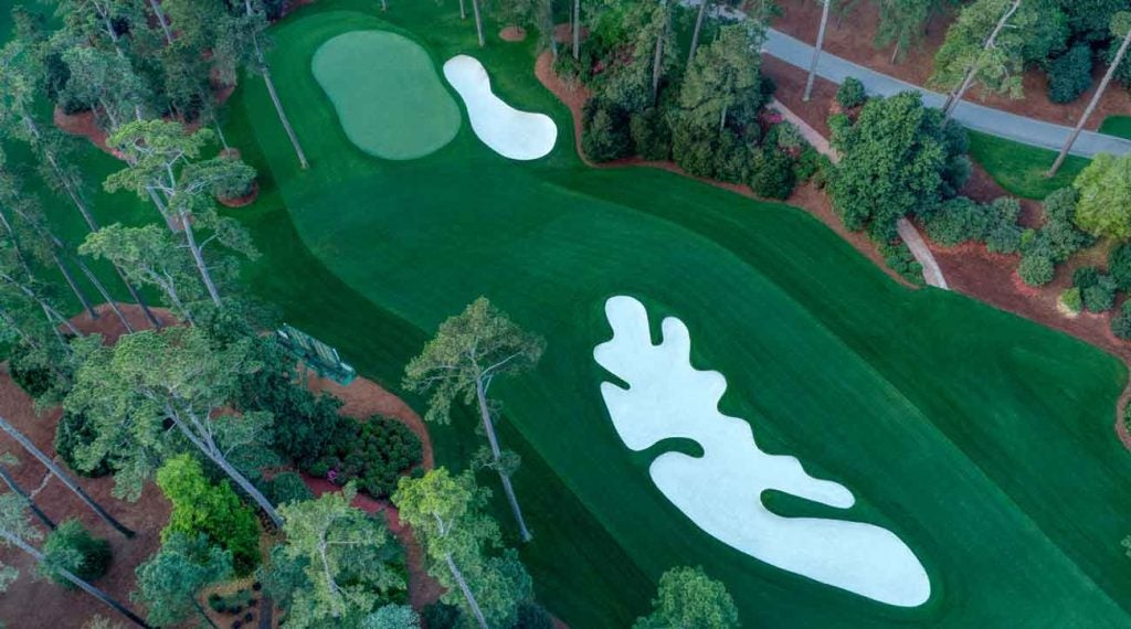An overhead of the par-4 10th, where even from the sky you can see the undulation of the hole.