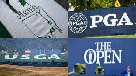 Logos for the four golf major championships