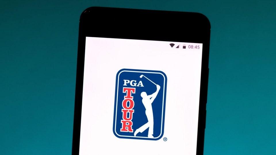 PGA Tour logo on a cell phone screen