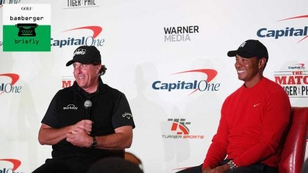 Tiger Woods and Phil Mickelson speak to the media prior to their showdown in 2018.