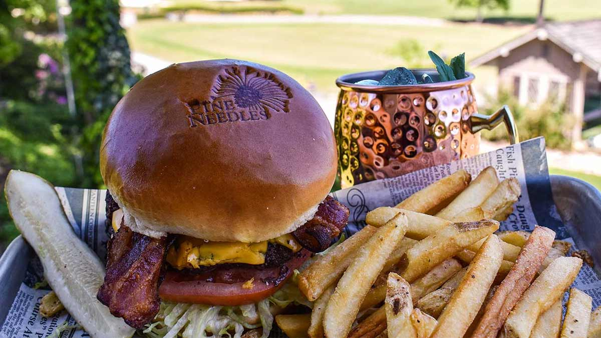 The Bell Burger and the Grand Bell Burger at Pine Needles Lodge & Golf Club go great with a Moscow mule.