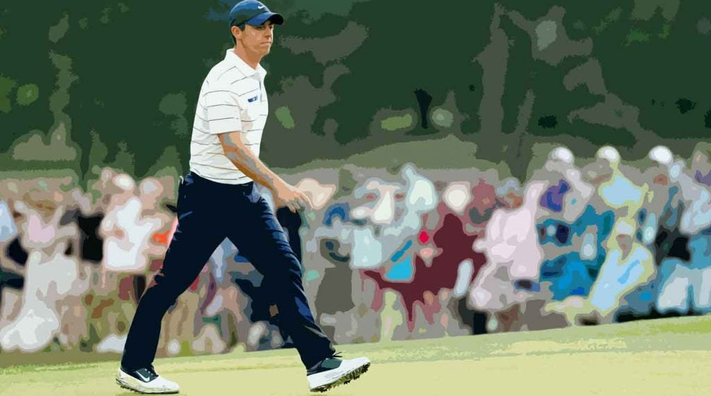 After a crushing miss on 18, Rory McIlroy paced off the green with a head of steam.
