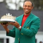 tiger woods with masters trophy