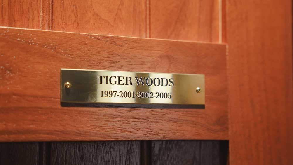 Tiger Woods' plaque on his locker in the Augusta National Champions Locker Room.