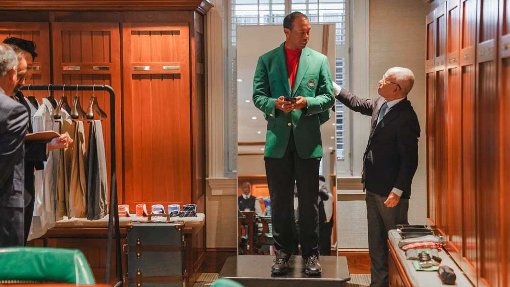 Tiger Woods in the Champions Locker Room after winning the 2019 Masters.