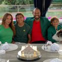 Tiger Woods and family at dinner