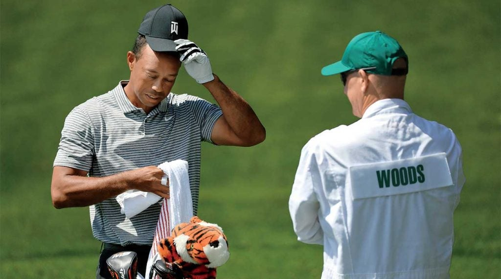 Tiger Woods and Joe LaCava during a Monday practice round at the Masters.