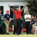 Tiger Woods celebrates his 2019 Masters win.