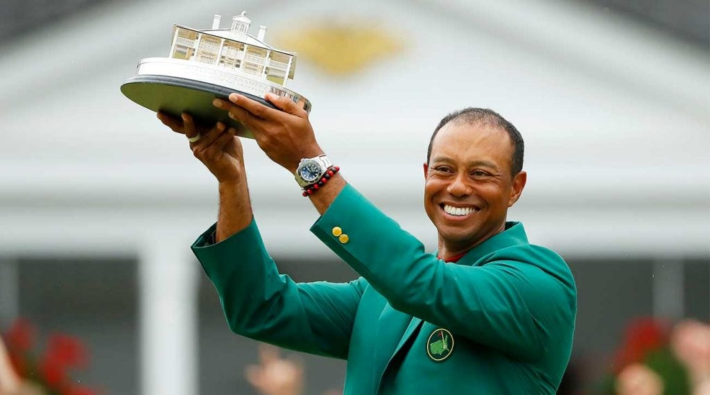 Tiger Woods celebrates his Masters victory and 15th major title.