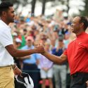 Tony Finau congratulates Tiger Woods after winning the 2019 Masters.