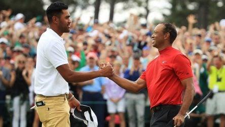 Tony Finau congratulates Tiger Woods after winning the 2019 Masters.