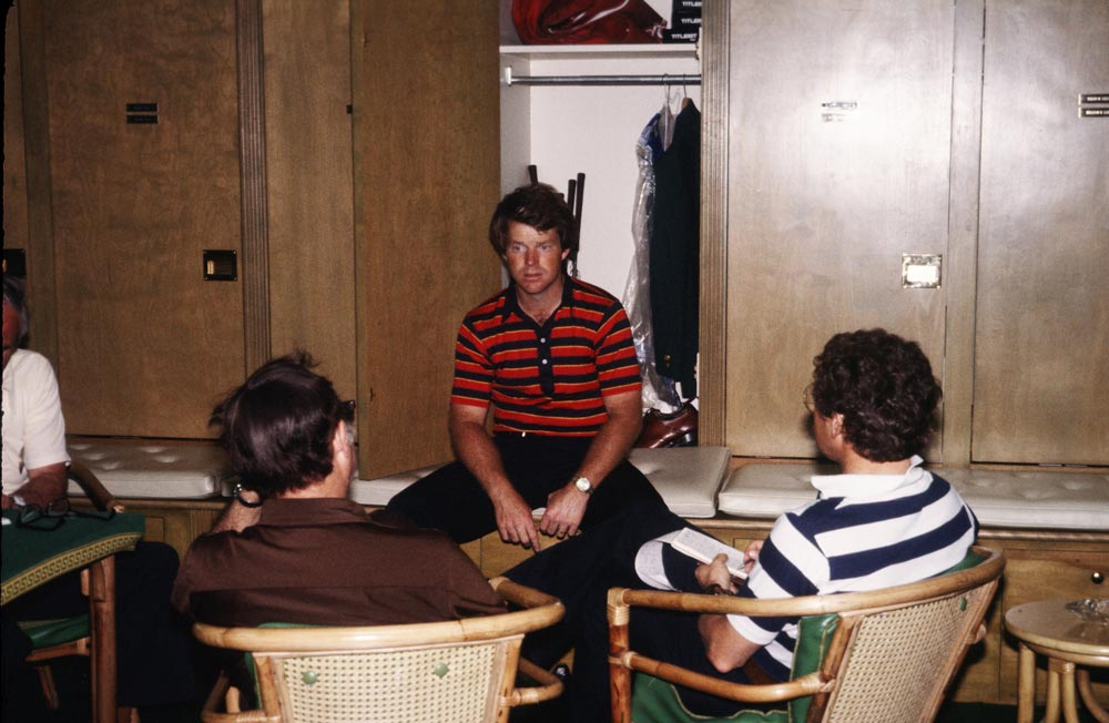 Tom Watson sits in an Augusta National locker room at the 1978 Masters.