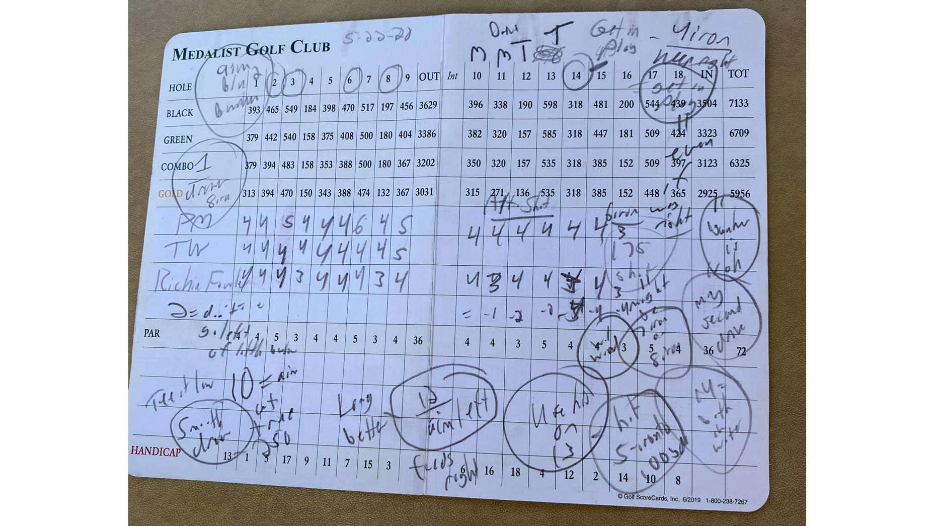 Peyton Manning's scorecard on Friday at Medalist Golf Club.